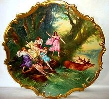 """Extraordinary 15 ' 1/2'"""" Limoges Porcelain Plaque / Charger ~ Hand Painted with Allegorical Scene of Women Hunting Elk ~ Signed Dubois ~ Lazeyras Rosenfeld & Lehman  early 1900''s  www.timberhillsantqiues@yahoo.com"""
