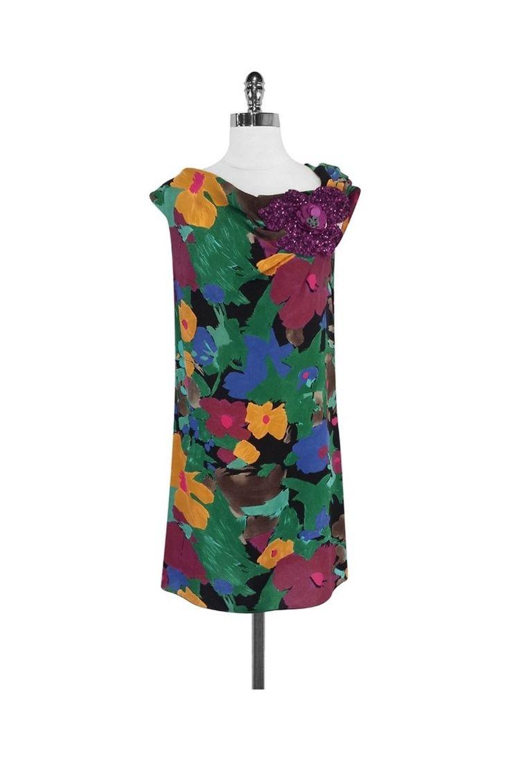 Missoni- Floral Print Silk Dress w/ Sequin Appliqué Sz 6 | Current Boutique