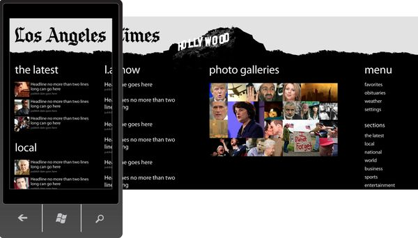 Windows Phone 7 app for L.A. Times by Ginett Colon, via Behance