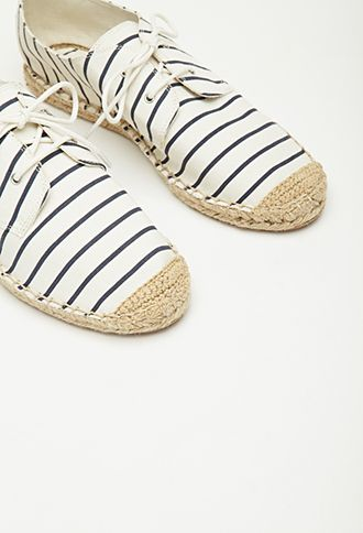 Striped Lace-Up Espadrilles - $15