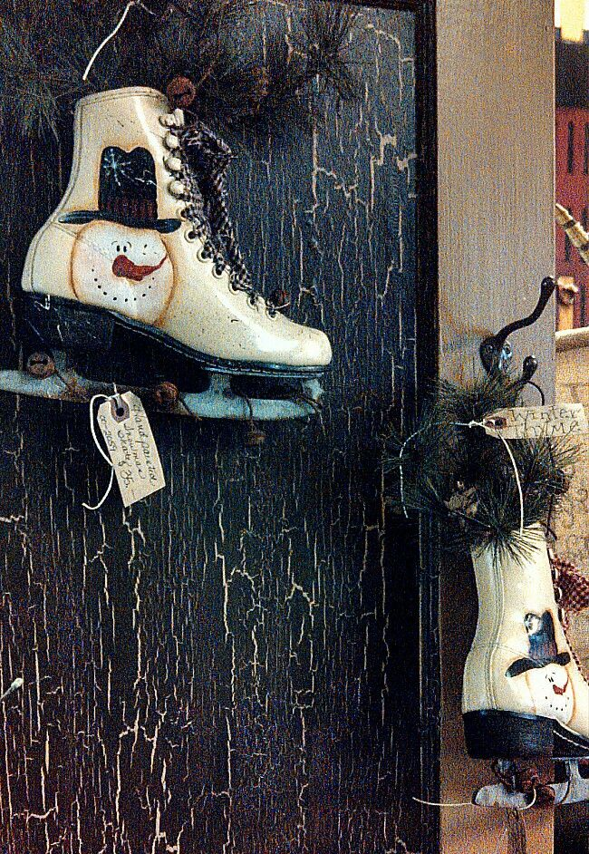 primitive hand painted Ice skates