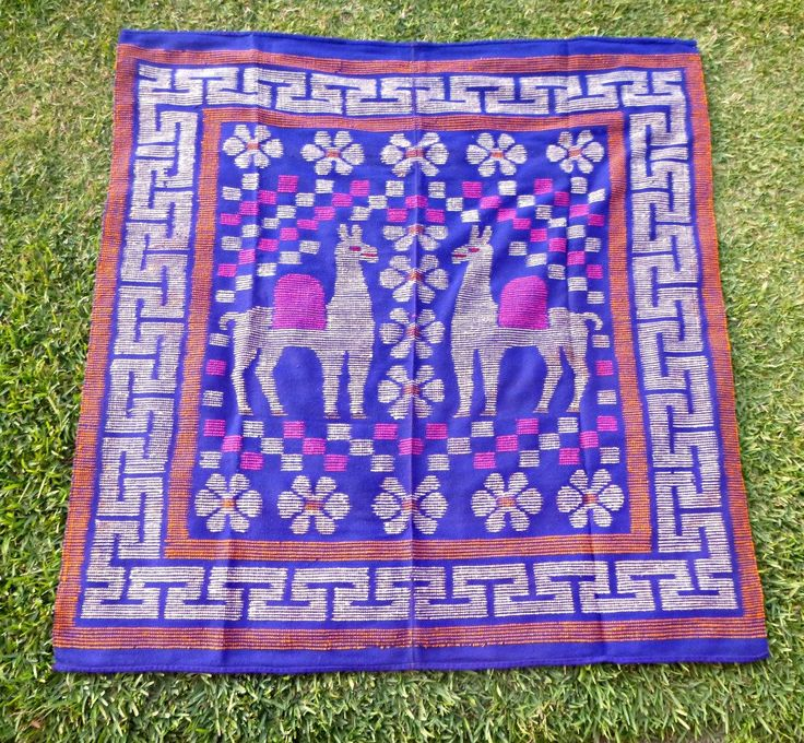 Romantic Vintage Peruvian Blanket with motif of two Alpacas, Blue and Pink Bed cover, Peruvian Carpet, Traditional Alpacas Decoration, Peru - pinned by pin4etsy.com