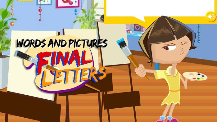 Find final letters with Words and Pictures - English (F,1). Di paints phrases. Help her paint three pictures by matching words that end with the same two letters. Choose two words that end with the same letter pattern, such as 'lamb' and 'comb'. Select a third word to make a phrase, for example 'a lamb under a comb'.  What will Di paint for each phrase? Find out.
