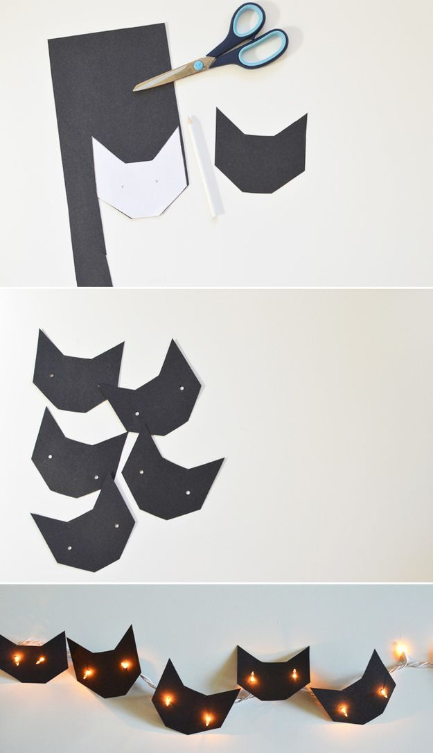 Cut out black cat shapes to make these cute string lights for your Halloween decor.