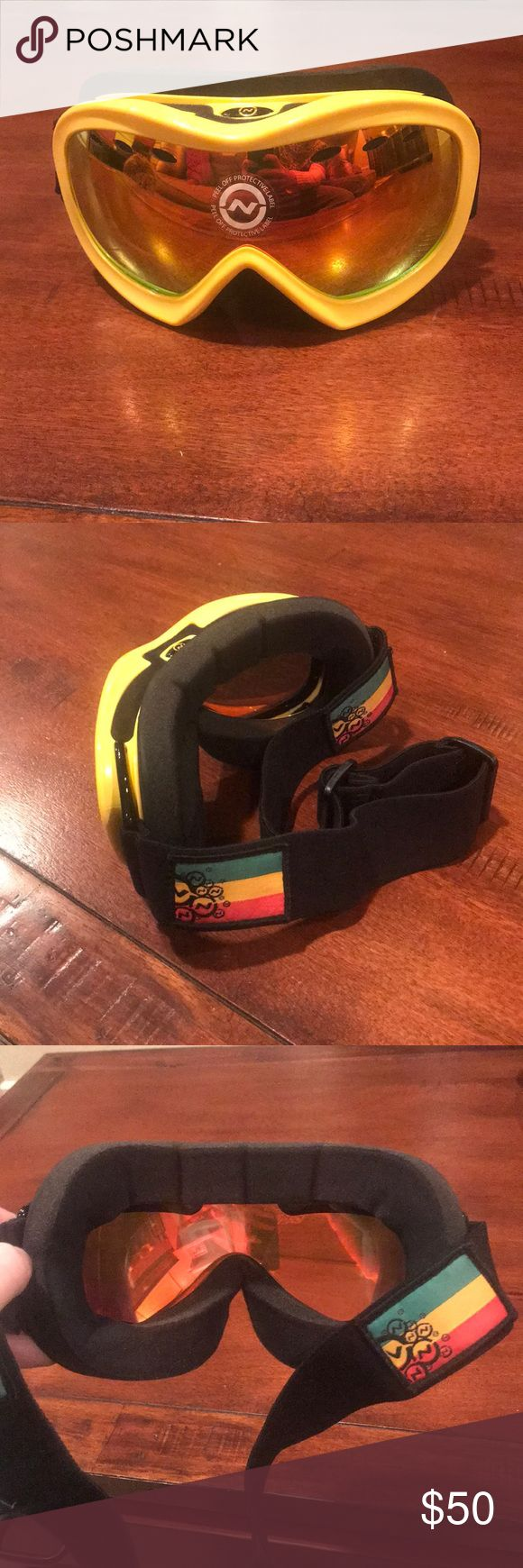 Optic Nerve Ski/Snowboard Goggles! Brand new Optic Nerve Goggles with protective label still on. Yellow frame with a reflective orange/yellow/red lense. Adjustable strap-super nice! NWOT Optic Nerve Accessories Sunglasses