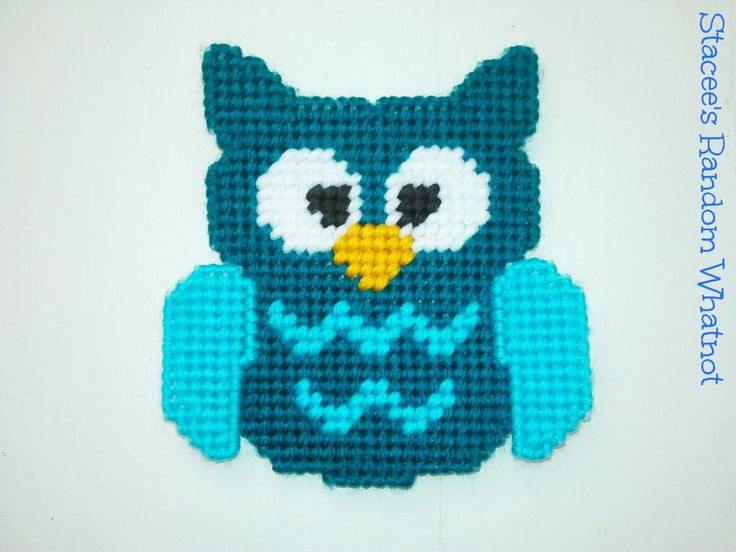 Aqua and Teal Plastic Canvas Owl Decorative Refrigerator Kitchen Magnet - Ready To Ship by StaceesRandomWhatnot on Etsy https://www.etsy.com/listing/243483930/aqua-and-teal-plastic-canvas-owl