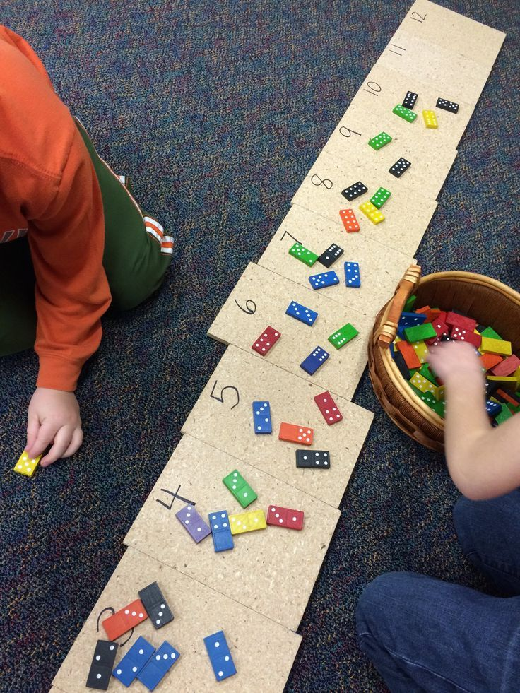 Kids add the two sides of a domino and then put it on the matching number square. GREAT for seeing all of the combinations to twelve! (image/idea only)