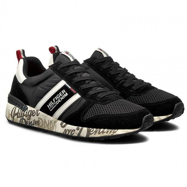 Sneakersy TOMMY HILFIGER - DENIM Track 1C EM56820810 Black/White 990
