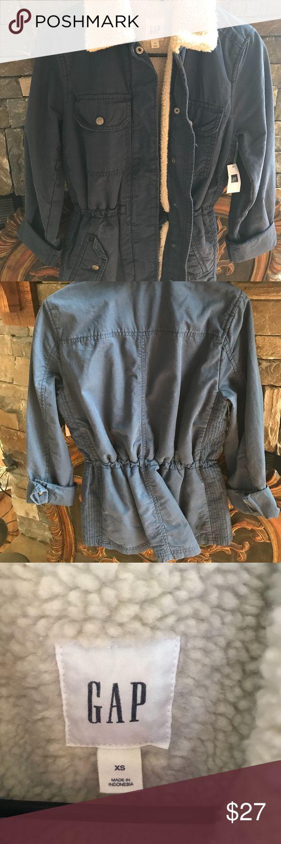 Gap Jacket NWT.  Navy Blue Gap Jacket.  Super cute.  Drawstring waist can be adjustable. GAP Jackets & Coats