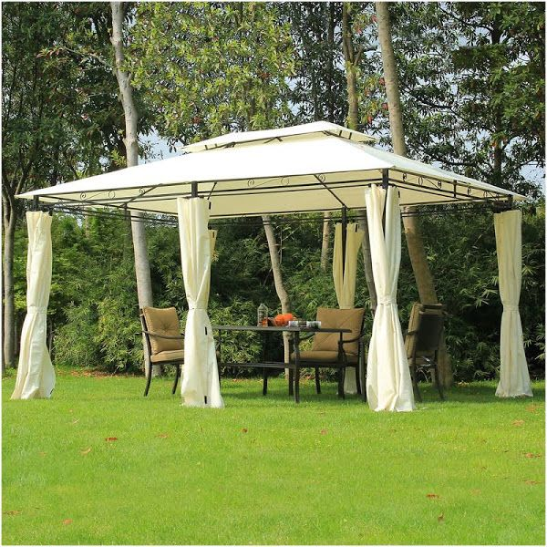 Outsunny Outdoor 2 Tier Steel Frame Gazebo With Curtains Cream Diy Gazebo Gazebo Canopy Portable Gazebo