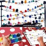 DIY Birds On Wire. A Finger Printing- Migratory Birds Art Activity. Stamp with your fingertips and draw the faces....