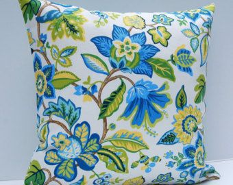 Floral Pillow Cover, Blue, Yellow, Green Throw Pillow, Contemporary Cushion Cover, 18x18 Floral Throw Pillow