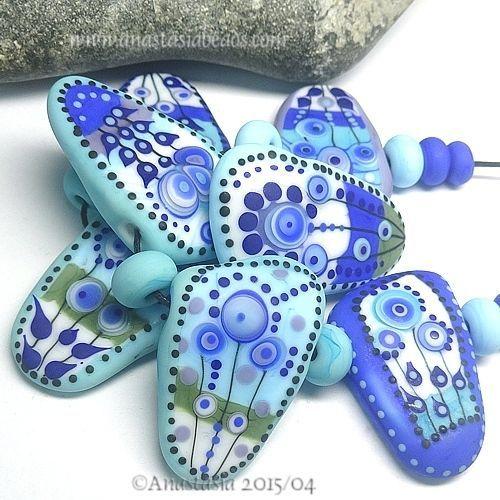 "ANASTASIA--handmade lampwork beads--(7)--""BLUE SKIES""--SRA #Lampwork"