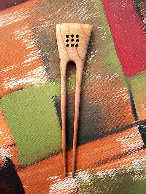 Jehlice do vlasů ze dřeva - hrušeň