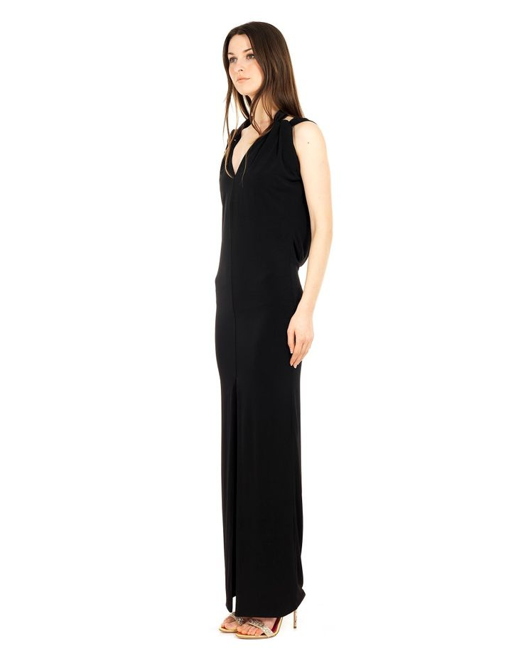 SEN COUTURE LONG DRESS SS 2016 Long sleeveless dress front and back V neck  front split double fabric 100% Silk Jersey dry wash only