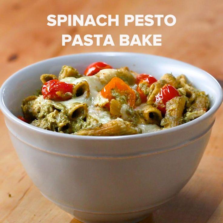 Spinach Pesto Pasta Bake Recipe by Tasty