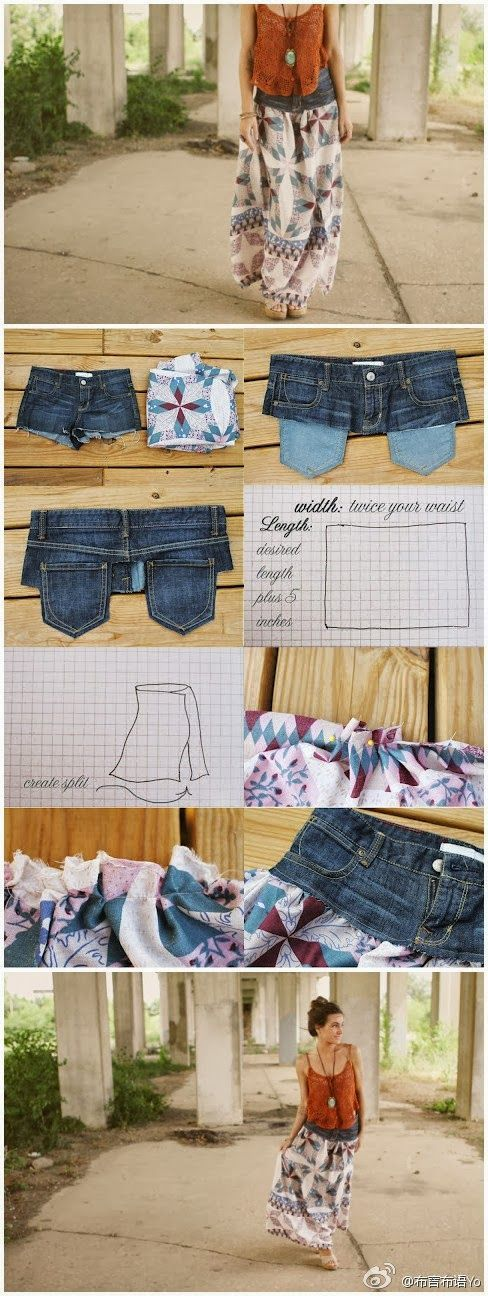 My DIY Projects: Transform your old shirts and jeans into skirt. Would love to try this out in the summer!
