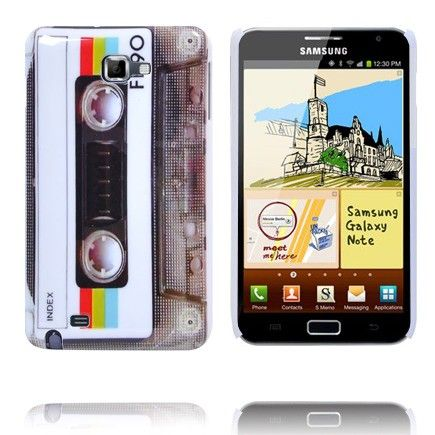 Retro Kasetti Suojakuori (Harmaa & Värikäs Tarra) Samsung Galaxy Note Suojakuori