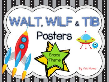 WALT, WILF & TIB Posters - For learning objectives & outcomes. Includes 3 check in cards for students self evaluation.