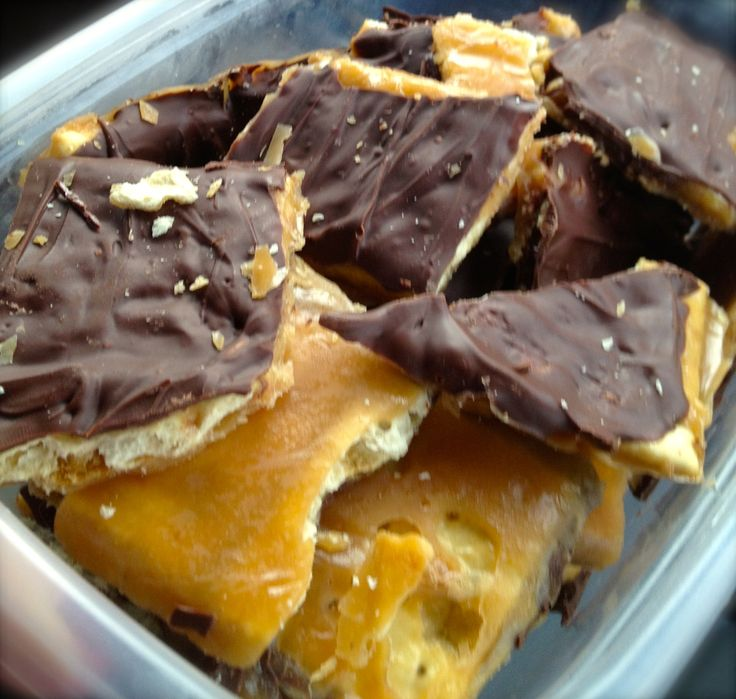 saltine cracker toffee!!  Ingredients:  40 saltine crackers  1 cup (2 sticks) butter  1 cup light brown sugar  2 cups of semisweet chocolate chips or 1, 12 ounce bag