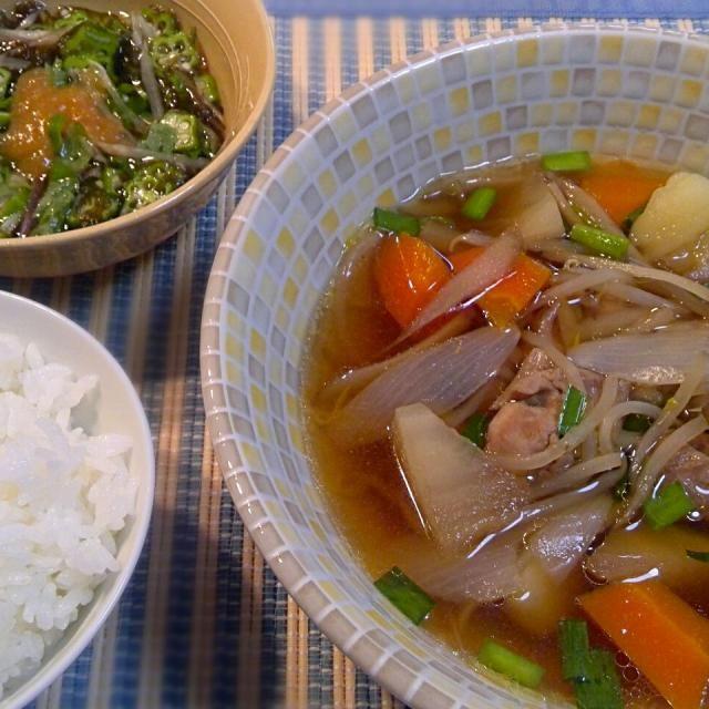 鶏モモ肉と野菜を和風味に煮てみました。 野菜は、大根、じゃがいも、にんじん、ごぼう、玉ねぎ、にら、もやし。味付けは普通の煮物と変わらず、だし、酒、砂糖、しょうゆ(薄口、濃口)、みりん。  付け合わせは、市販の黒酢もずくとオクラを混ぜ、みょうがともみじおろしを和えたものを。 - 13件のもぐもぐ - 鶏野菜汁&オクラ黒酢もずくのみょうが・もみじおろし和え by dentyuugaku