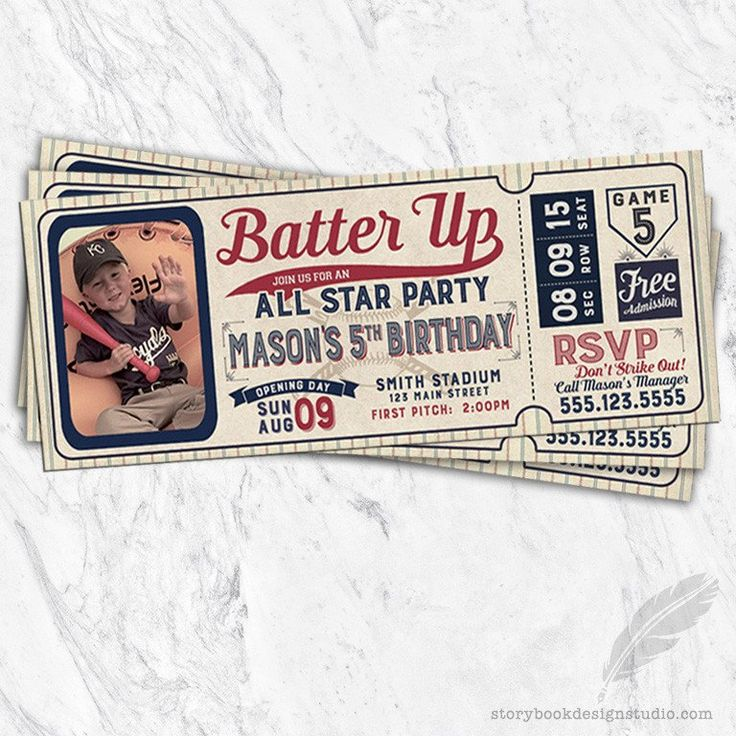 Baseball Ticket Birthday Party Invitations