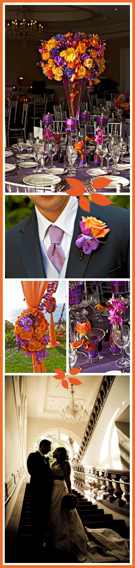 tangerine and purple reception wedding flowers,  wedding decor, wedding flower centerpiece, wedding flower arrangement, add pic source on comment and we will update it. www.myfloweraffair.com can create this beautiful wedding flower look.