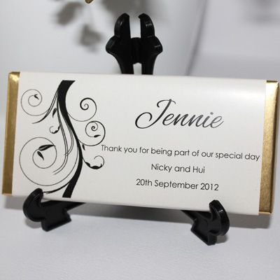 Personalised Chocolate Bar Favours - Swirl Design