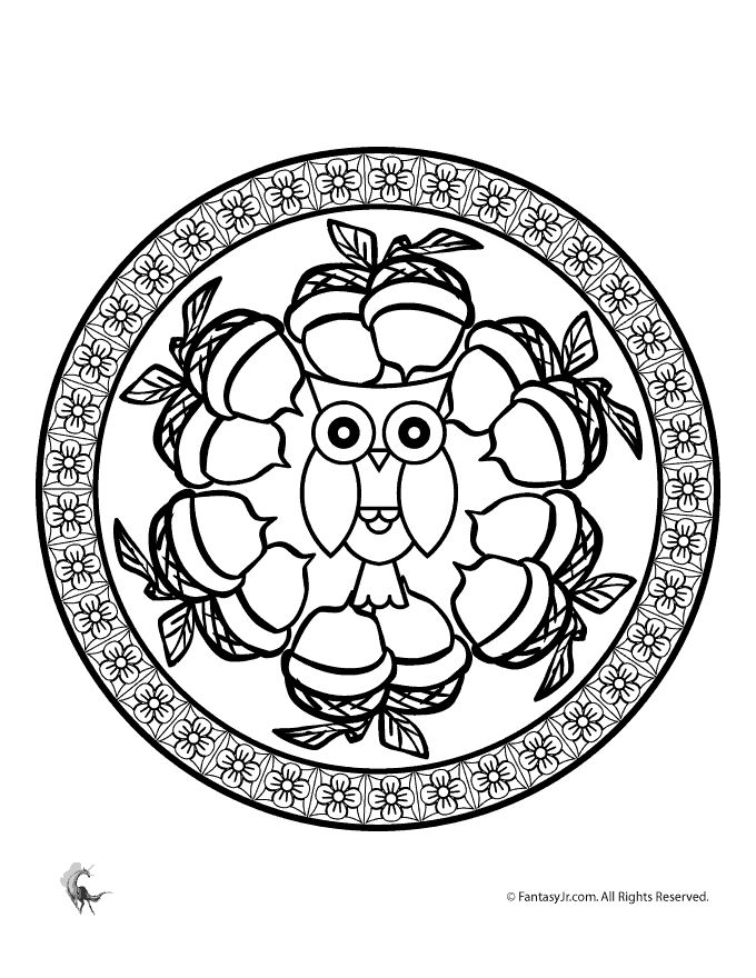Fall mandala coloring pages for kids and adults fall owl for Autumn mandala coloring pages