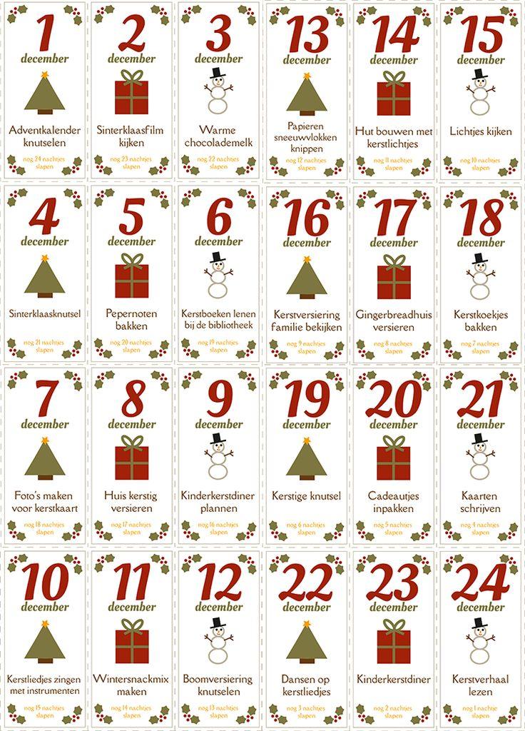 PDF adventskalender met 24 leuke activiteiten om te doen met kinderen in de aanloop naar kerstmis. Gratis te printen met of zonder activiteiten. | Free download / printable for advent calendar for activities. #free #christmas #download #advent