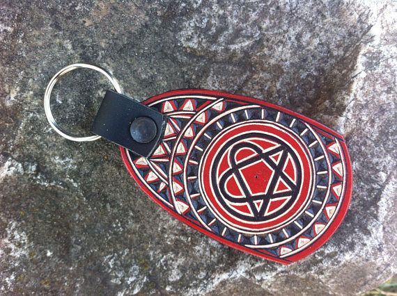 Red  heartagram hand carved leather keychain - leather keyring - leather keyfob