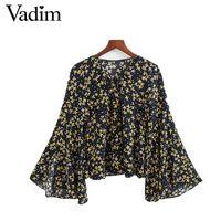 Женщины сладкий цветочный принт кружева v шеи блузки flare рукавом vintage рубашки дамы случайные уличной топы blusas LT1748