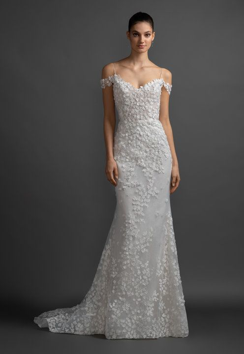 71bf90a210bc Style 3914 Olivia Lazaro bridal gown - Ivory petal embroidered tulle over  sparkle net and Chantilly lace two-piece bridal gown, strapless sweetheart  ...