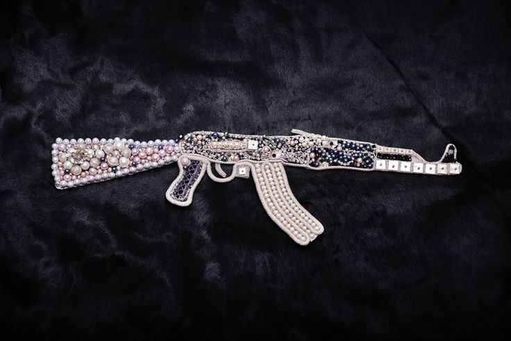 Kalashnikov AK 47 Bling-Bling I  Peacemaker Collection SVW unique* selected* handcrafted* Embroidery with soutache technique on Italian black cow leather with Swarovski crystals  Size: 51 inch x 42 inch  #handcrafted #fine #art #kalashnikov #embroidery #swarovski