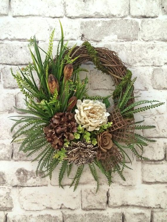 Summer Wreath for Door, Burlap Wreath, Fall Wreath, Front Door Wreath, Outdoor…