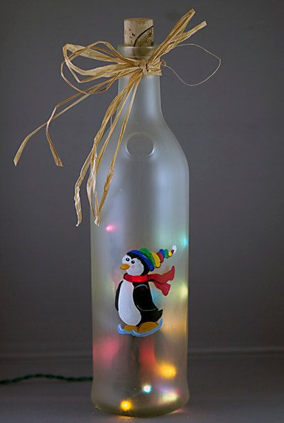 Penguin Skating Lighted Wine Bottle Hand Painted By Recyclethyme 27 00 Diy Crafts