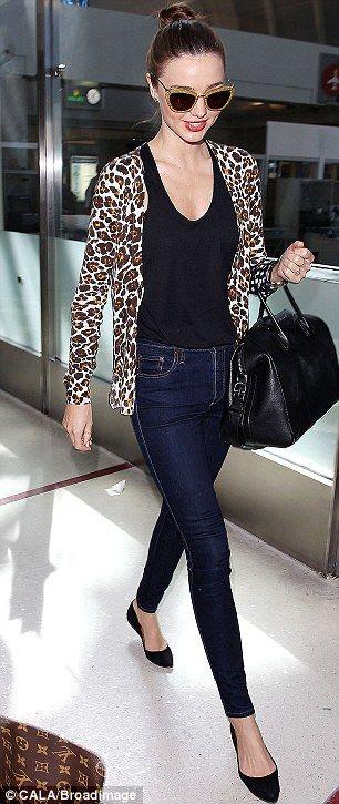 A is for Animal Prints - Miranda Kerr looking fabulous as always in her leopard print cardigan! #sstrendguide