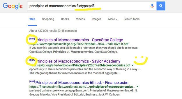 "Forgot your textbook at home? Google the name of the textbook + ""filetype:pdf"" and you might find it online."