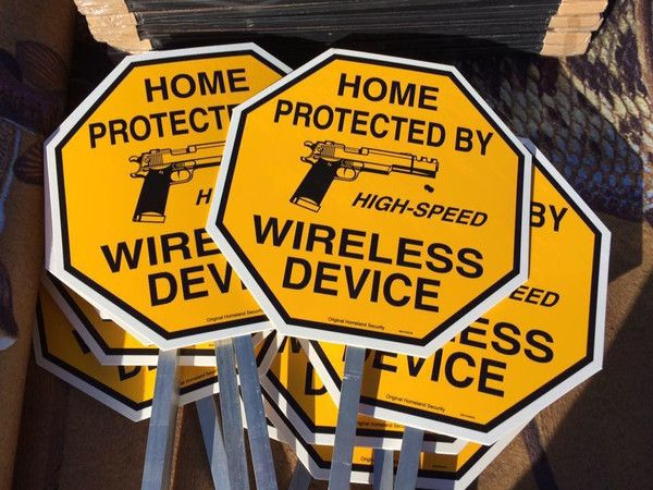 Home Protected By High Speed Wireless Device Yard Sign