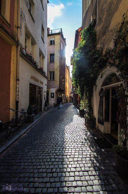 Cobblestone alley in Regensburg, Bavaria, Germany - We volksmarched in this village. What is so wonderfully typical about this road, and all the roads in Germany, is how clean they are.