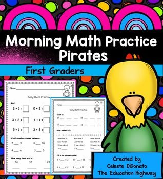 Included in Morning Math for First Graders are 26 pages with three concepts on each page that can be used for morning math work, homework, review, or summer practice for first graders. Morning Math Pirate theme includes the following concepts:1.NBT.1  Counting to 120 starting  at any number, read and write numerals.1.NBT.2 Understand two digit place value representing amounts of tens and ones.1.NBT.3 Compare 2 digit numbers recording results of comparisons with the symbols <,=,>1.NBT.5…