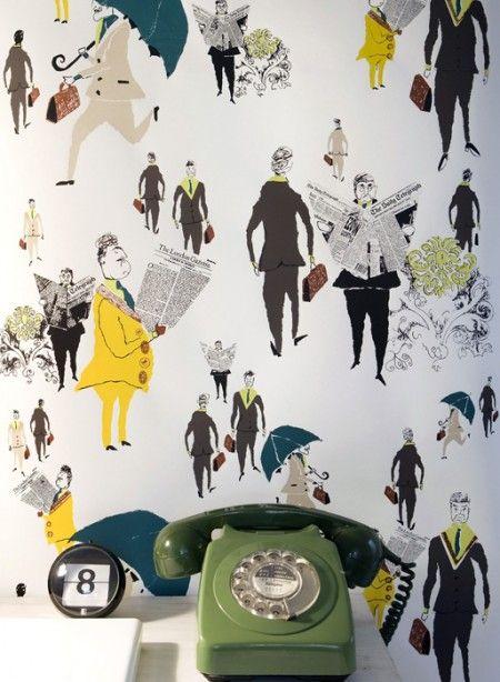 London City Gents wallpaper by Lizzie Allen