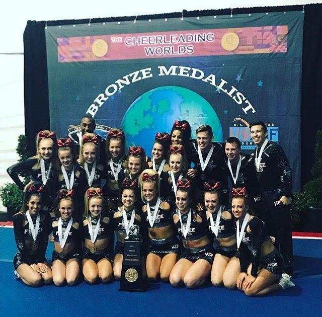 KC Cheer Fierce 5 worlds 2017 small senior coed bronze medalists ❤️🖐🏽🖤