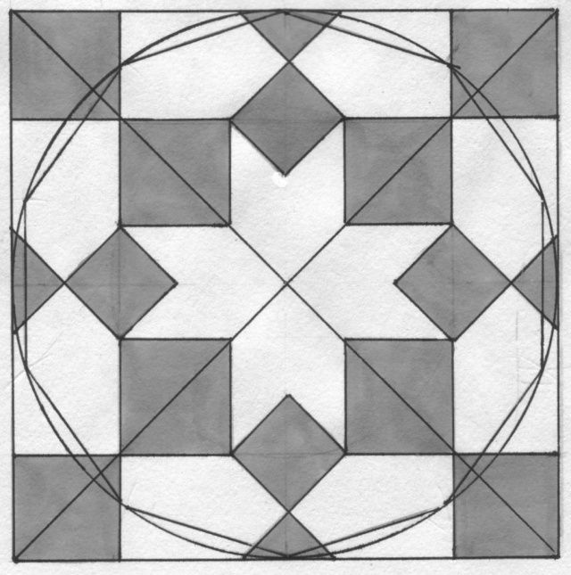 Fig. 13 – The reconstruction of the eight-pointed star in the floor of the Praetorium in Piero della Francesca's painting 'The Flagellation of Christ'. Ducal Palace, Urbino (Italy).