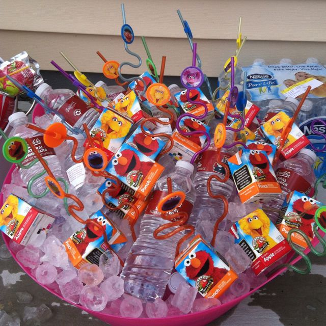 Drinks at Elmo birthday party