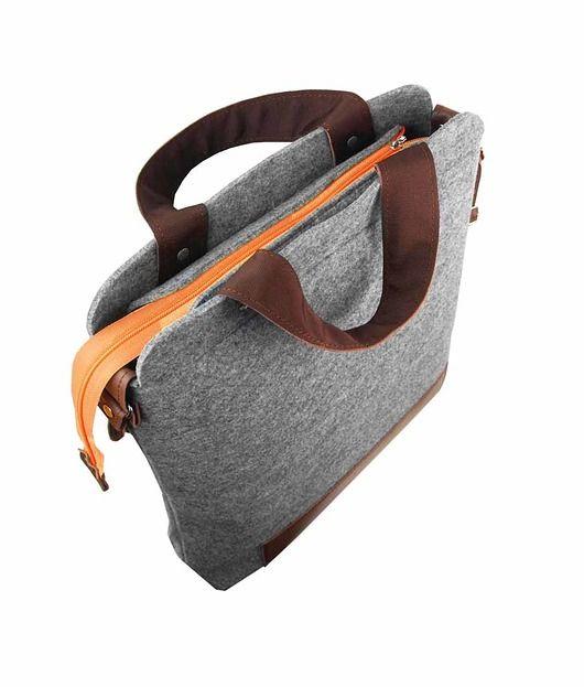 TORBA Z FILCU MAXI 01 pomaranczowy zamek #filcowatorebka #torba #filcowa #nalaptopa