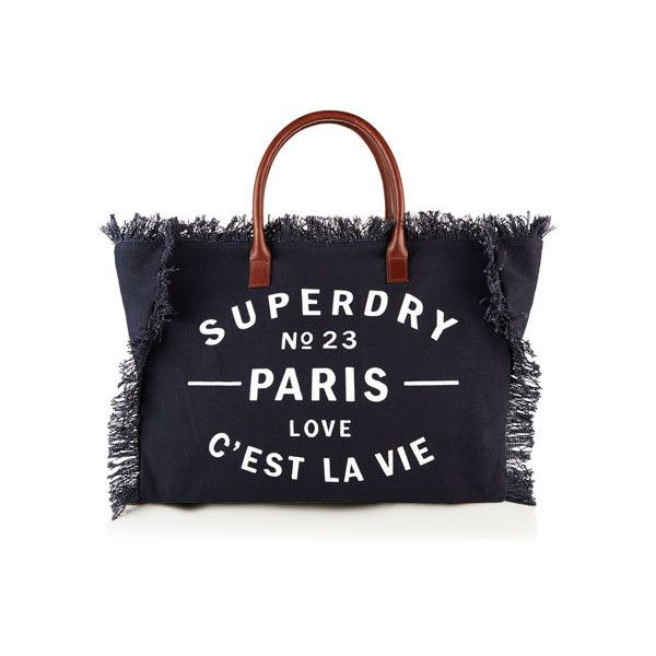 Superdry Celia Tote Bag ($22) ❤ liked on Polyvore featuring bags, handbags, tote bags, blue, handbags totes, tote handbags, canvas tote bags, magnetic pouch and canvas zipper pouch