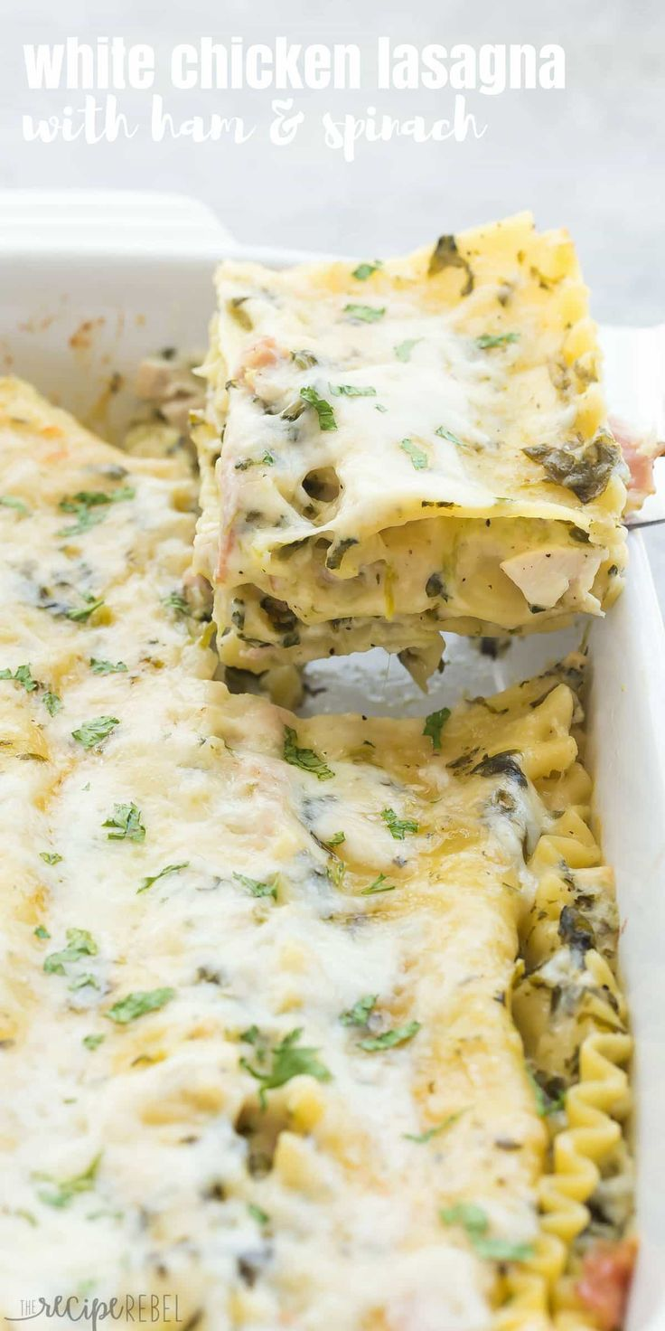 This White Chicken Lasagna with Ham and Spinach is the ULTIMATE comfort food! Made with a lighter Alfredo sauce, it's decadent enough for Thanksgiving or Christmas and still loaded with healthy ingredients. | dinner recipe | easy dinner recipe | chicken dinner | chicken recipe | cordon bleu | pasta recipe | leftover ham | leftover chicken | rotisserie chicken | healthier | low fat #lasagna #pasta #chicken