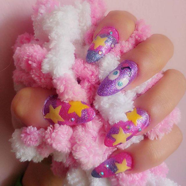 New self nails~ inspired by Minyatocchi's nails💜💗💙 #cute #kawaii #glitter #nails #nailart #stars #swarovski #colorful #gyaru #gaijingyaru #gyarunails #かわいい #可愛い #ギャル #キラキラ #ネイル #セルフネイル #カラフル #外人ギャル
