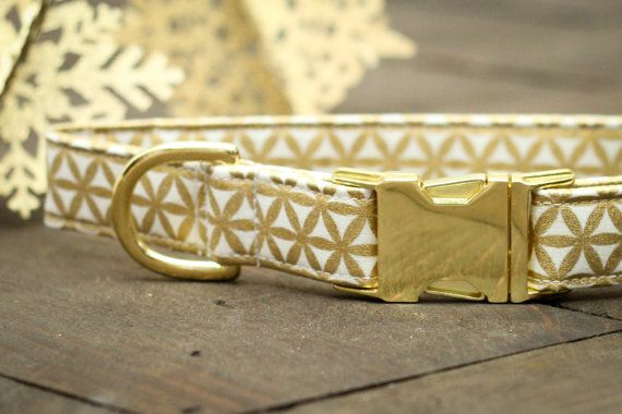 Gold Dog Collar Christmas Dog Collar Snowflake by ZaleyDesigns
